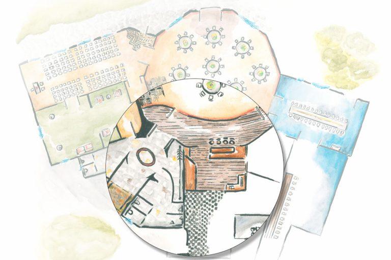 Illustration der Räumlichkeiten mit Lupe über dem Barbereich