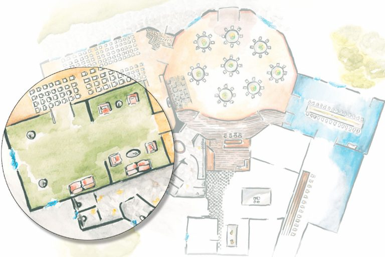 Illustration der Räumlichkeiten mit Lupe über dem Bismarckzimmer