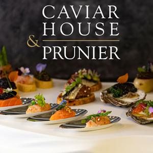 Foto Fingerfood mit Caviar und Logo Caviar Houes und Prunier