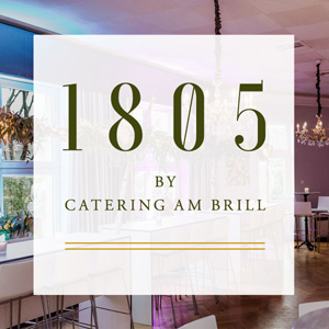 Foto vom Chef's Table im Hintergrund und Logo von 1805 im Vordergrund