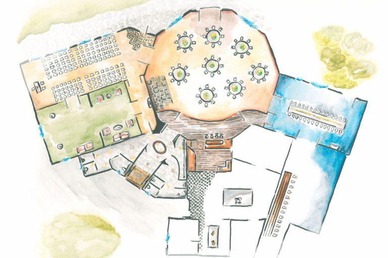 Illustration der Räumlichkeiten am Brill