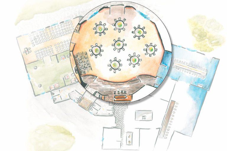 Illustration der Räumlichkeiten mit Lupe über dem großen Saal
