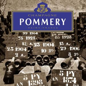 Bild mit alten Champagner Flaschen und Logo Champagne Pommery