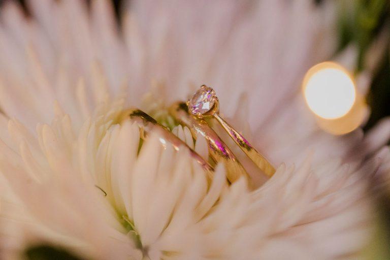 Hochzeitsringe auf Blumen