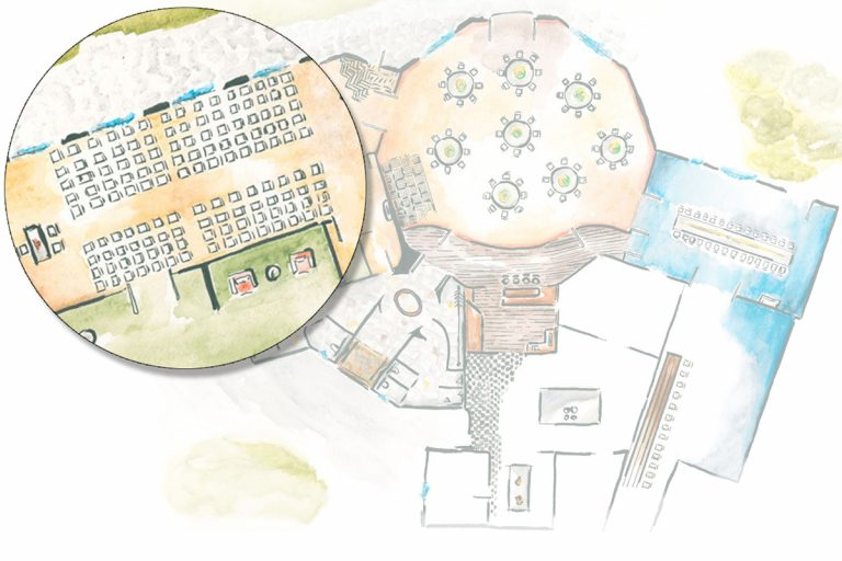 Illustration der Räumlichkeiten mit Lupe über der Veranda