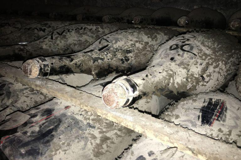 Bild zeigt die ältetsten Champagner Flaschen mit Staub bedeckt