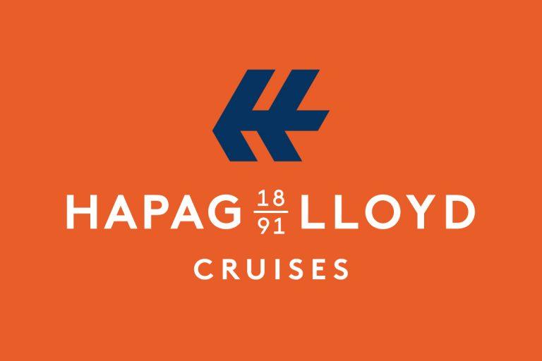 Bild zeigt das Logo von Hapag Lloyd Cruisses in Orange und Blau